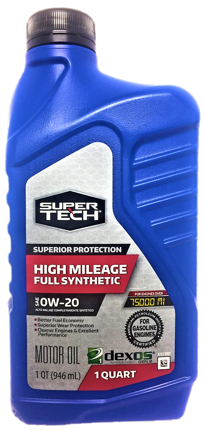 SuperTech High Mileage Full Synthetic SAE 0W-20 Motor Oil